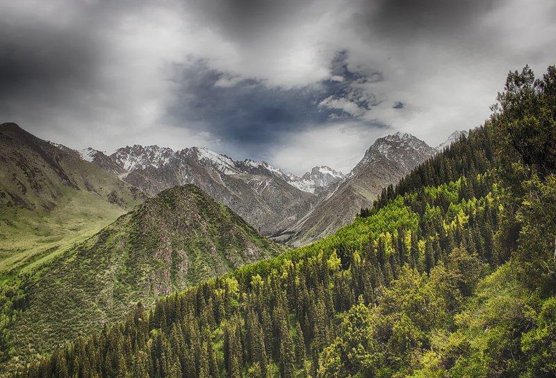 кыргызстан, горы Пролетая над \