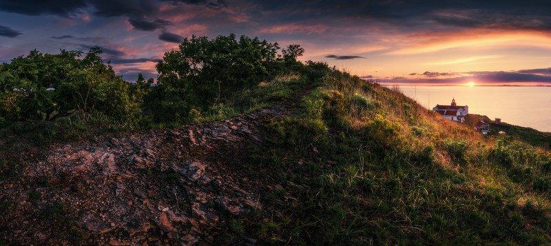 панорама, море, маяк, лето, восход ***photo preview