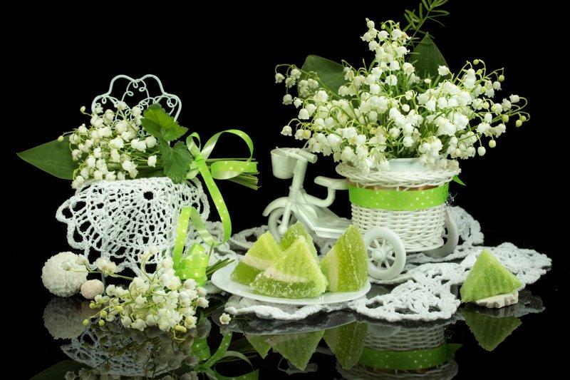 весна, цветы, ландыши, мармелад, натюрморт Ландышиphoto preview