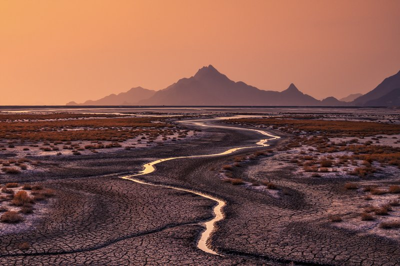 Sunset Water Flow Yellow Sky Mountain Mud Landscape Drought  Sunset on the Unyeom Islandphoto preview