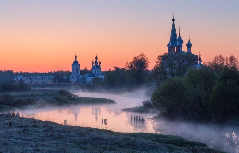 утро, рассвет, природа, туман, река Встречая рассвет фото превью