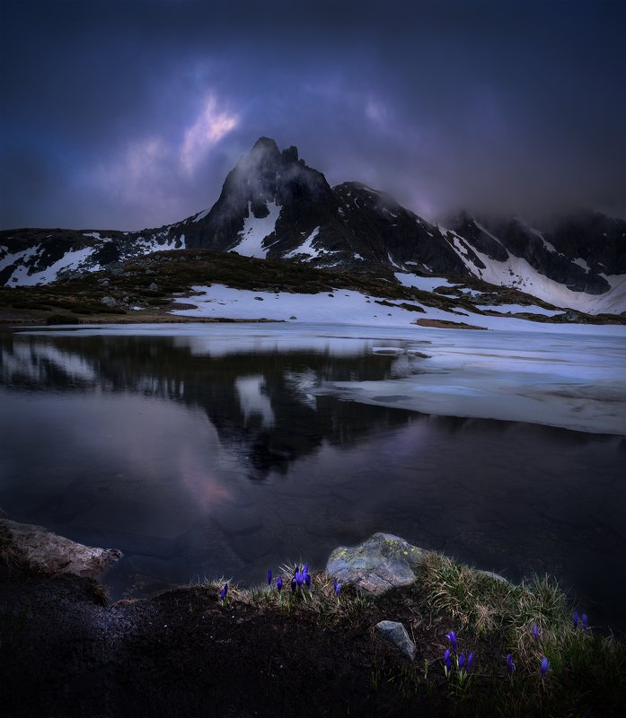 landscape, nature, scenery, spring, sunset, bluehour, reflections, lake, snow, ice, clouds, peak, mountain, crocuses, panorama, rila, bulgaria, пейзаж, весна, горы, крокусы Late spring, late hoursphoto preview