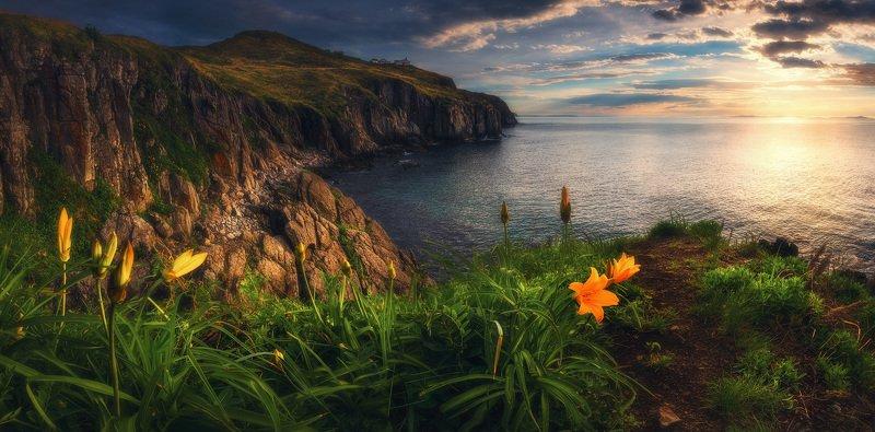 панорама, море, скалы, маяк, утро, лето ***photo preview