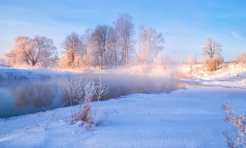 зима, река, туман, утро Зимнее впечатлениеphoto preview