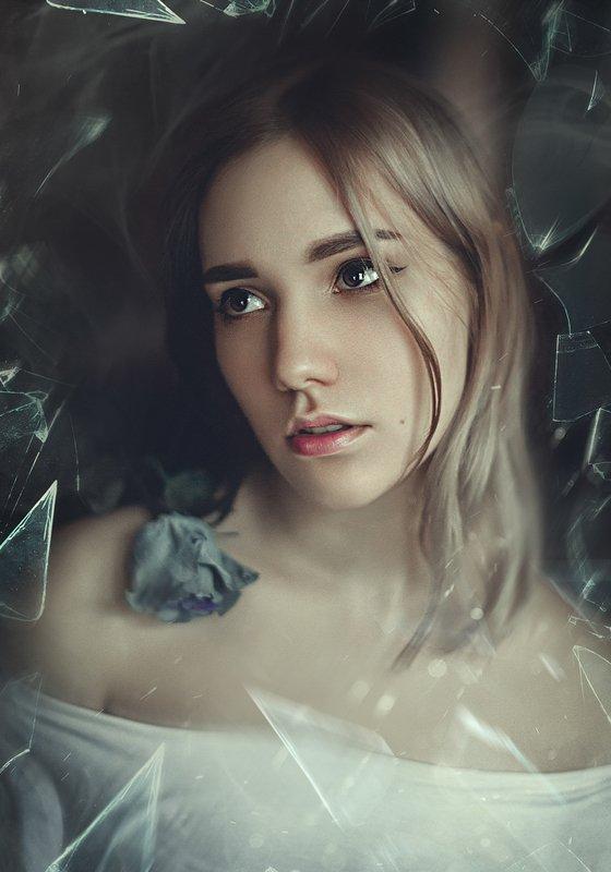 украина, коростышев, портрет, взгляд, девушка, роза, плечи, образ, осколки, стекло, фотограф, чорный, Freedom. Courage to be yourself.photo preview