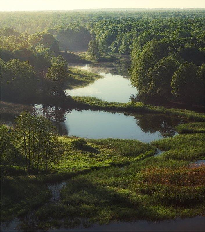Река Воронеж и лёгкая дымка на воде после утреннего туманаphoto preview