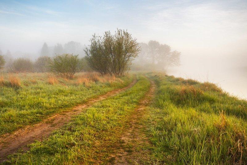 беларусь, березина, весна, вода, май, рассвет, река, туман, утро Весна. Берега Березиныphoto preview
