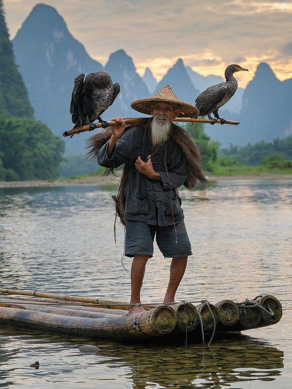 китай, старик, рыбак, баклан, бакланы Старик и бакланыphoto preview