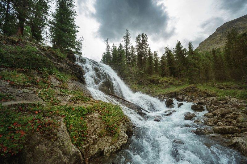 горы, облака, природа, алтай, рассвет, река, путешествие, россия, озеро Водопад озера Поперечноеphoto preview