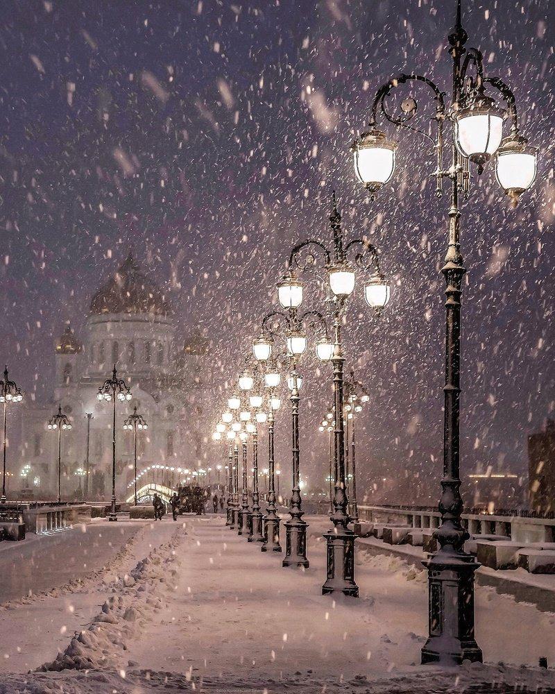 Картинки ночного зимнего города