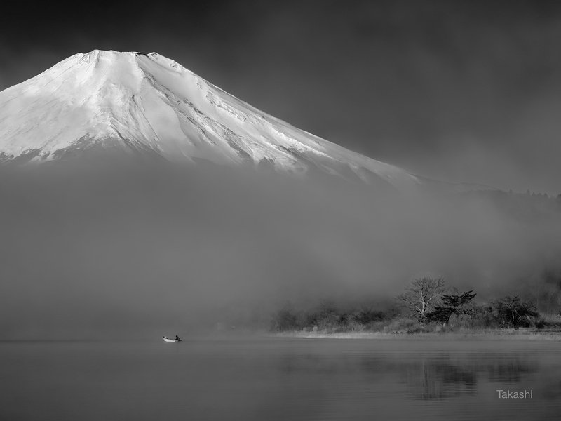 Fuji,Japan,mountain,lake,water,boat,tree,amazing,wonderful Beyond the fog 2photo preview