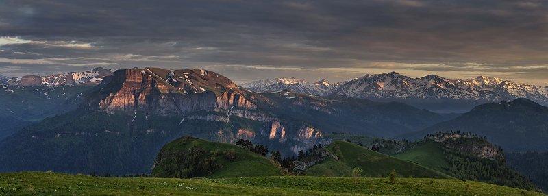 закат, большой тхач, малый тхач, асбестная, горы, пейзаж, рассвет, кавказ, адыгея, ачешбоки, хребет скирда, На закатеphoto preview