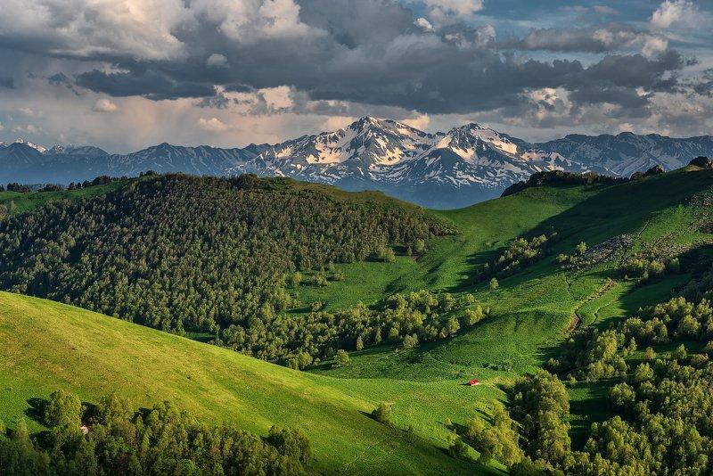 закат, большой тхач, малый тхач, асбестная, горы, пейзаж, рассвет, кавказ, адыгея, ачешбоки, Домик в горахphoto preview