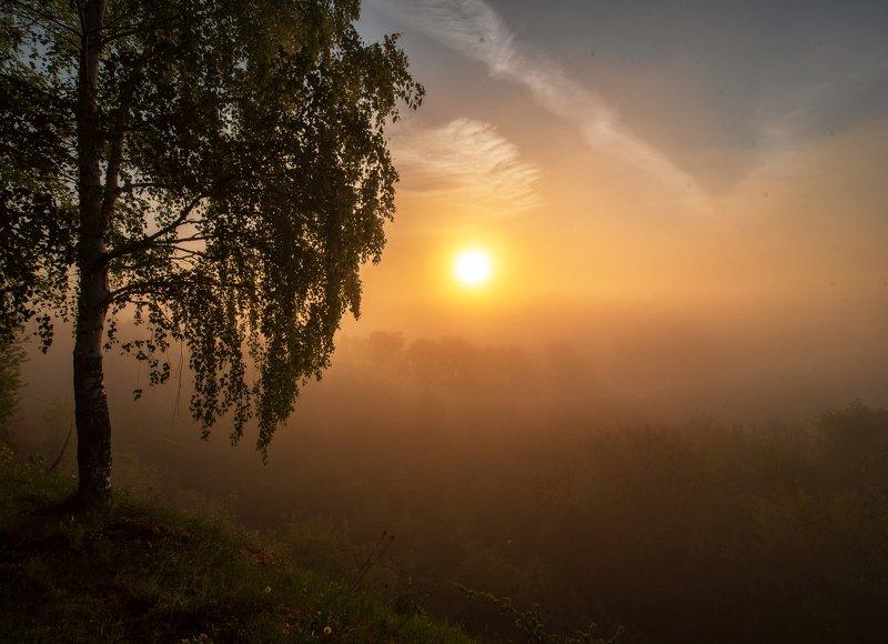 рассвет,природа,Вятка,Россия  Туманный рассвет над Вяткойphoto preview
