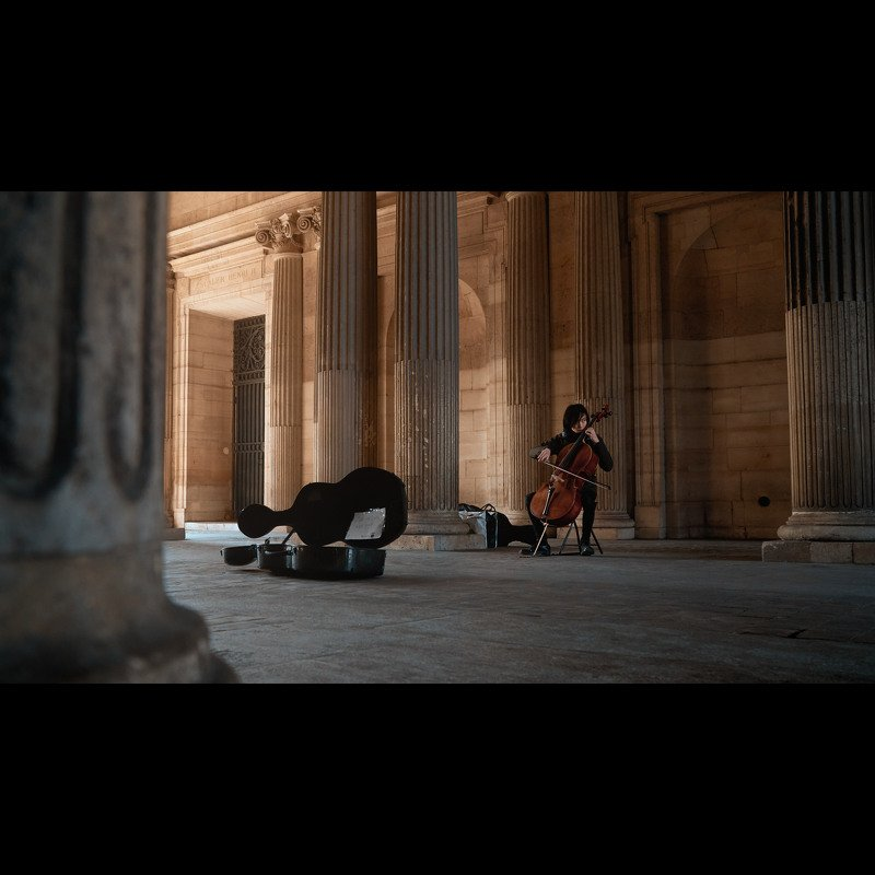 cello, cellist, Louvre, Paris, sunrise, columns, cinematic, colorgrading, colorgraded, morning Cellistphoto preview