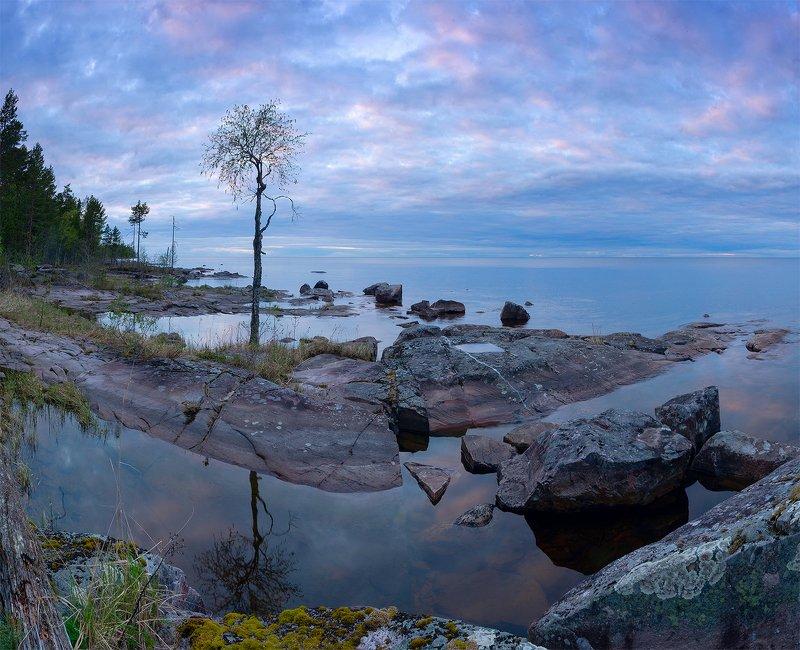 Онежское озеро, Петрозаводск, вечер, Карелия Тихий вечер на Онегеphoto preview