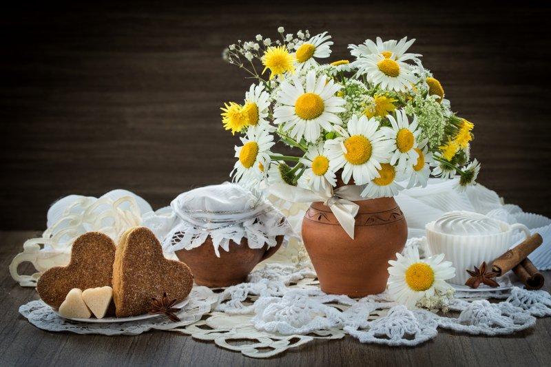 натюрморт, цветы, ромашки, букет, кувшин Ромашкиphoto preview