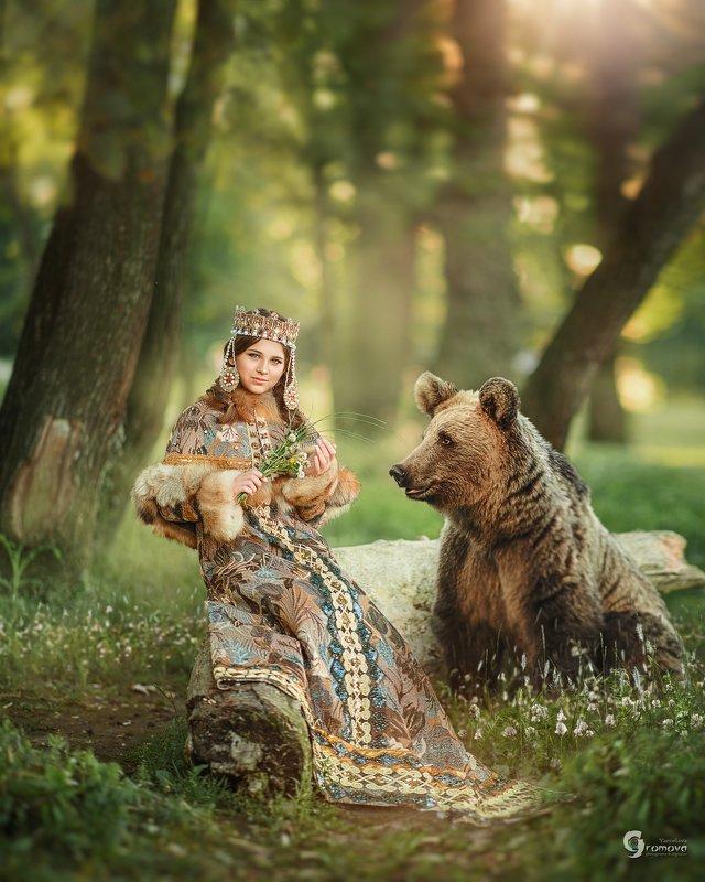 княжна, Киевская Русь, лес, медведь, сказка, фотопроект, царевна, принцесса Вечер в лесуphoto preview