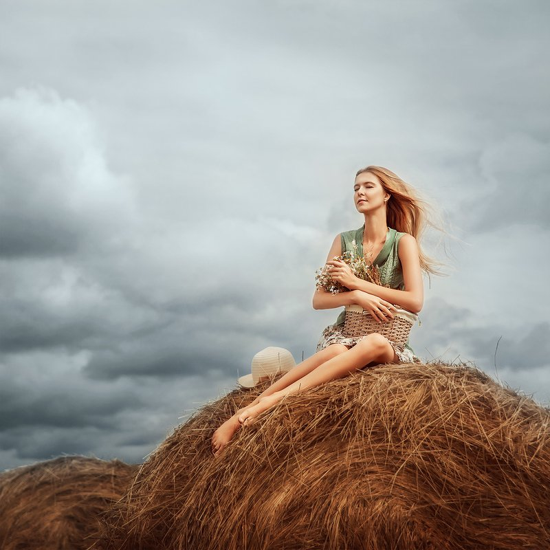 portrait, girl, summer, field, девушка, сено, поле, лето photo preview