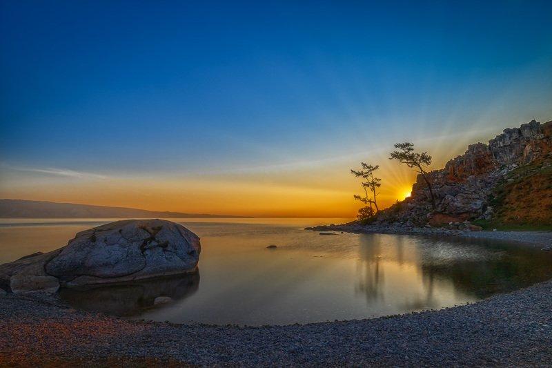утро, восход, пейзаж, отражение, озеро, Байкал, зори Первые лучиphoto preview