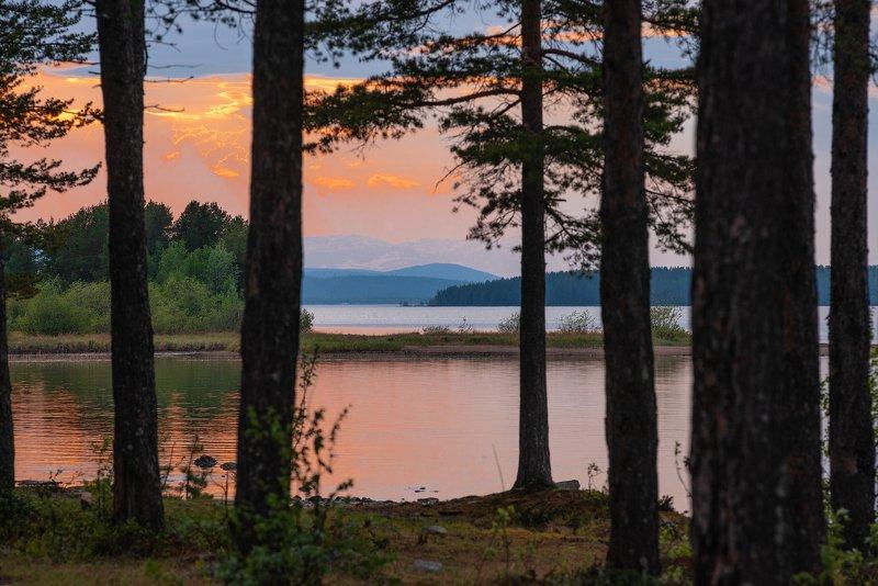 имандра, хибины, лето, кольский, заполярье, север, ночь, полярный день, Вечер на Имандре.photo preview