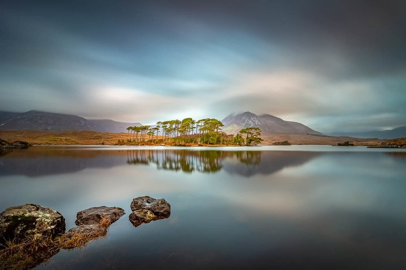 #landscape, #seascape, #waterscape, #lake, #mirror, #reflection, #dynamic, #calm, #sky, #clouds, #island, #trees, #stones, #ireland, #canon, #longexposure, #nature, #beautiful, #colorful, #mountains Connemaraphoto preview