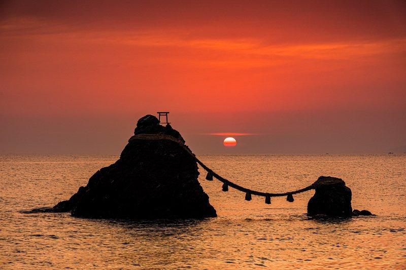 landscape japan nature sunrise sea morning sun meoto iwa married couple rock Married Couple Rocksphoto preview