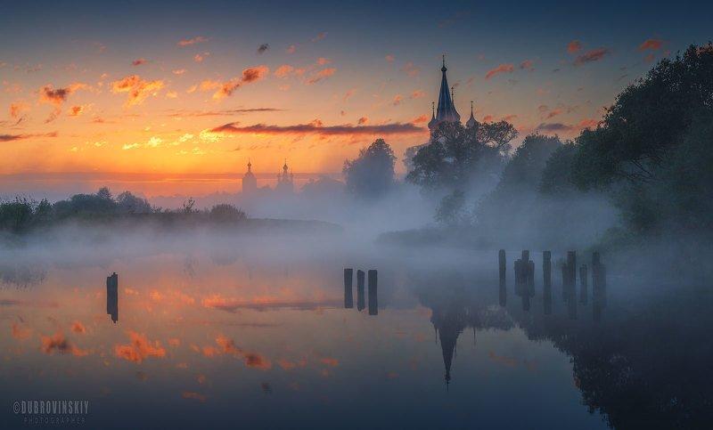 дунилово, теза, река, село, ивановская область, туман, рассвет Предрассветное мгновение фото превью