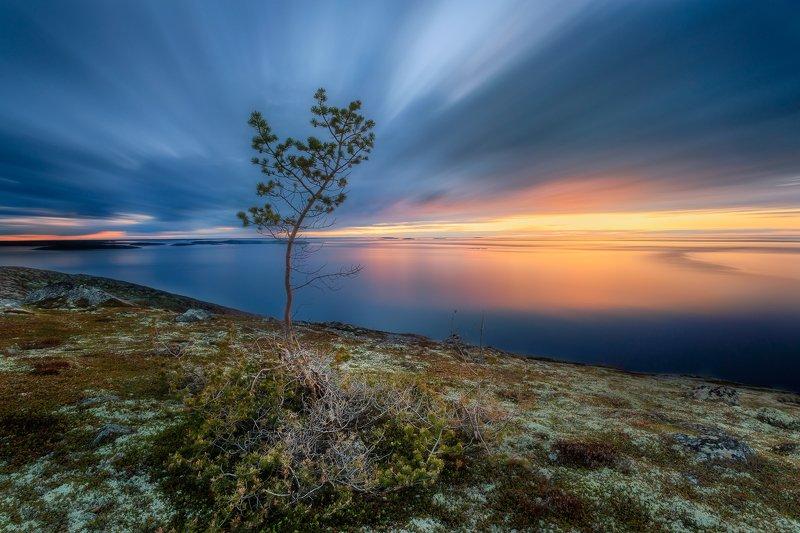 Карелия, длинная выдержка, пейзаж Закатphoto preview