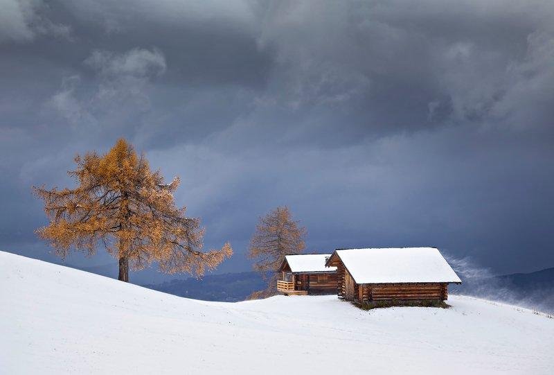 mountains, dolomites, italy, trees, landscape, nature, travel, sunset, autumn, clouds, house, snow Autumn Survivorphoto preview