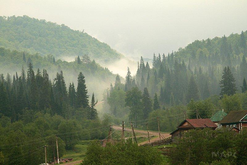 пейзаж деревня лес баширия утро Деревня Толпар на реке Зилимphoto preview