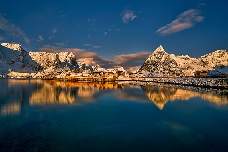 norway, winter, snow, landscape  Winter in Lofoten - panorama photo preview