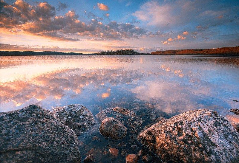 пейзаж, природа, кольский п-ов, озеро, полярный день ***photo preview