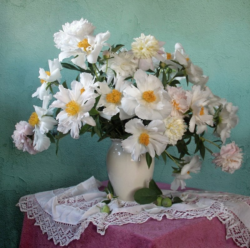 пионы, натюрморт, букет цветов,  марина филатова Пионов нежная прохладаphoto preview