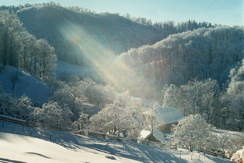 карпаты, утро, зима, снег, село, лес, мороз Cristmas Timephoto preview