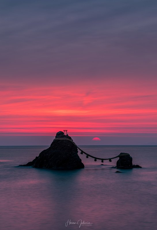 landscape japan nature sunrise sea morning sun meoto iwa married couple rock Daybreakphoto preview