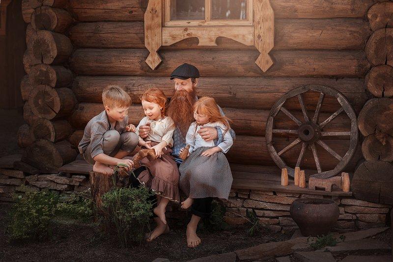дети, рыжие, дедушка, деервня В гостях у дедушкиphoto preview