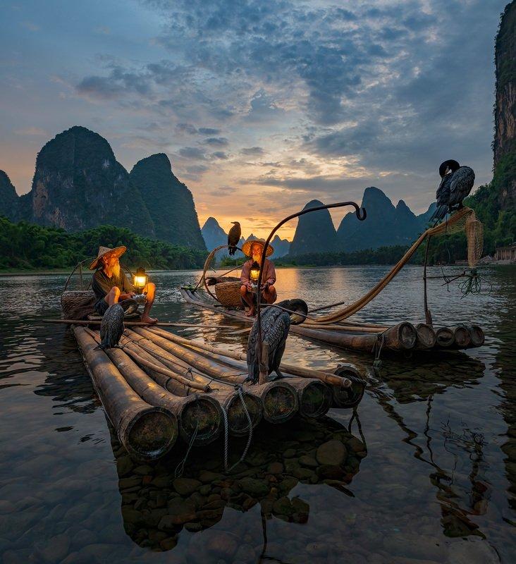китай, старик, рыбак, баклан, бакланы, горы, закат Вечером в гостях у китайской сказки.photo preview