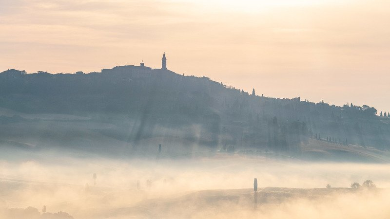 tuscany Misty morning over Pienzaphoto preview
