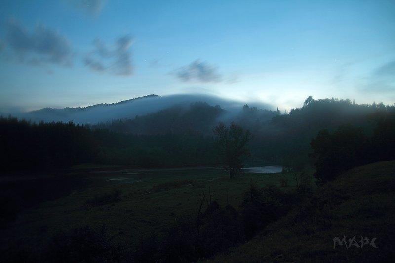 пейзаж, туман, река, горы, река, зилим, башкортостан Ночью на Зилимеphoto preview