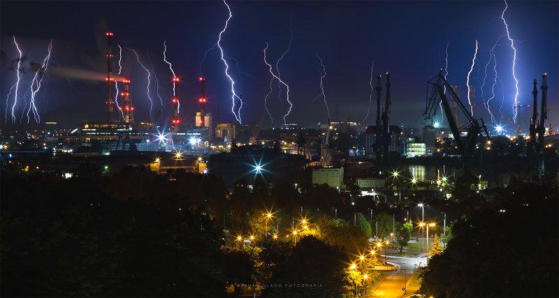 thunderstorm, lightning, storm, thunder, night, cityscape, nightscape Cyberpunk 2077photo preview