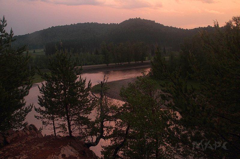 пейзаж вечер река лето закат горы На закатеphoto preview