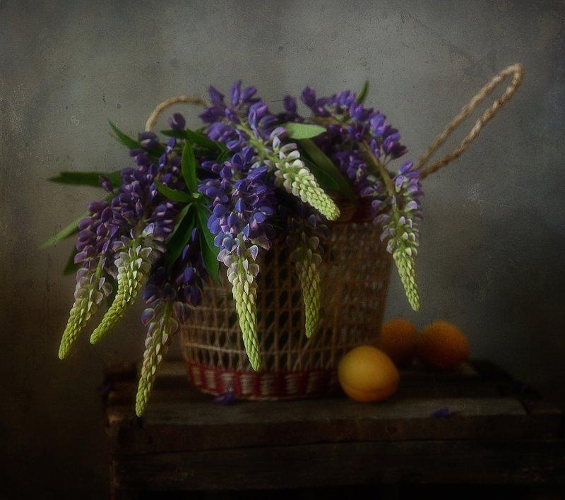 натюрморт,люпины,корзинка,цветы,лето .....photo preview