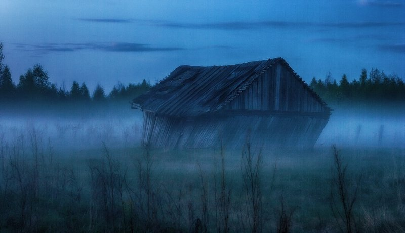 туман, закат, сарай, разруха ...photo preview