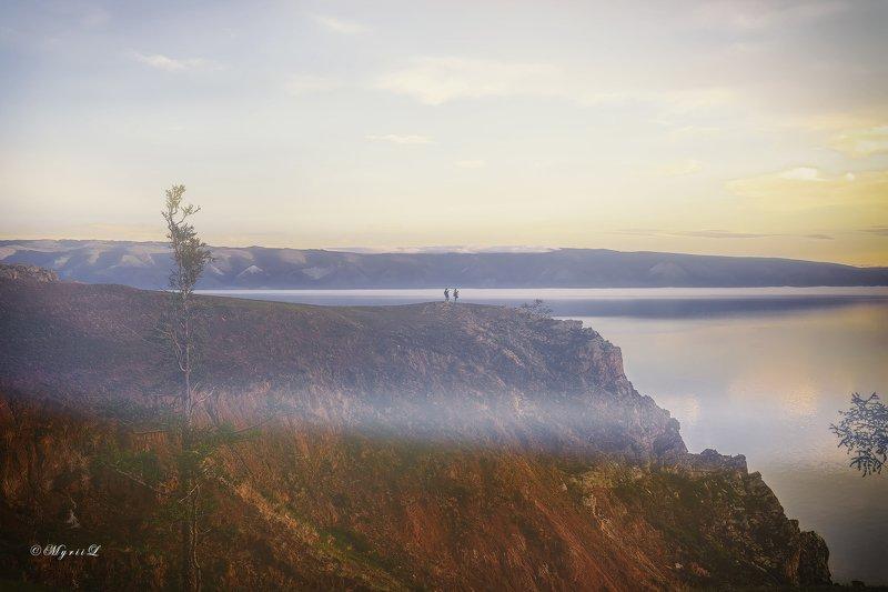 утро, восход, пейзаж, отражение, озеро, Байкал, зори Встреча рассветаphoto preview