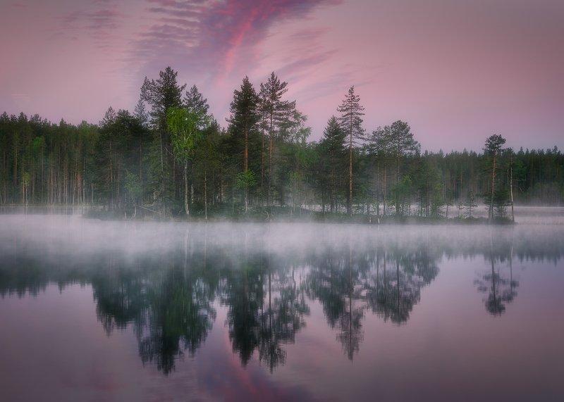 Туманное утро на озере в Карелииphoto preview