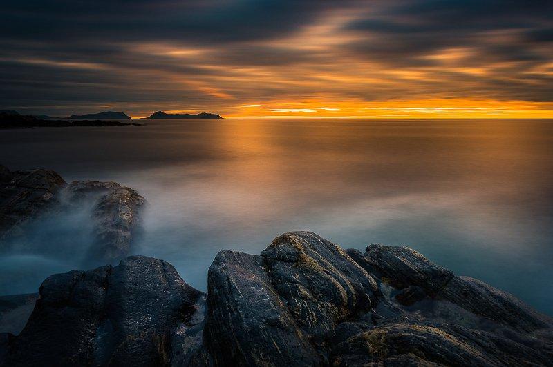 norway,rock,sunset,sea,coast,mood Norwegian coastphoto preview