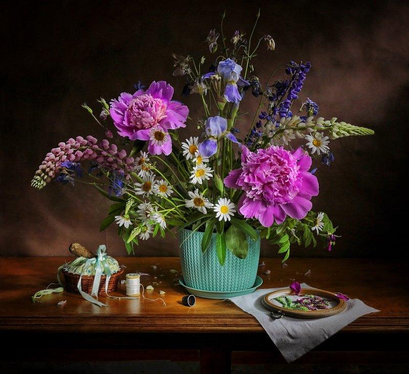 натюрморт, пионы, цветы, С пионами...photo preview