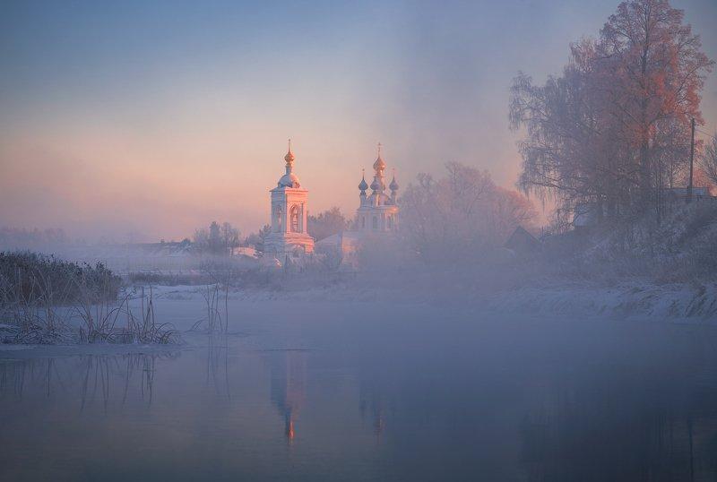 утро, рассвет, природа, туман, река Дуниловоphoto preview