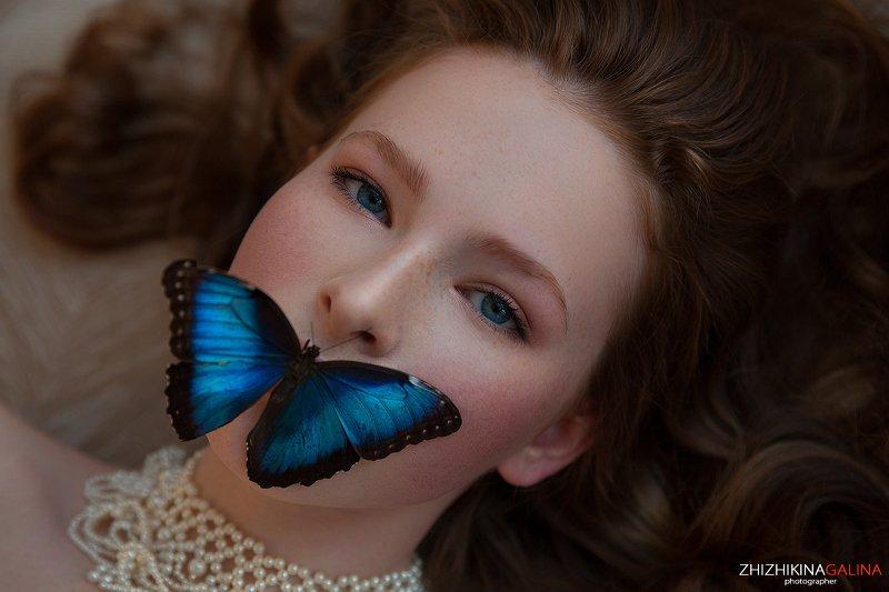 девушка, рыжая, портрет, лицо, фотография, москва, фотограф, жижикина, бабочка, face, prtrait, girl Молчание... фото превью